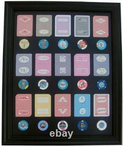 16x20 BLACK PICTURE FRAME WITH LAS VEGAS CASINO POKER CHIPS AND PLAYING CARDS