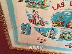 1960's Las Vegas Commemorative Silk Framed Scarves 33 x 32 Set WATCH VIDEO