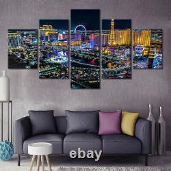 5 Panel Framed Las Vegas Night Scenery Modern Decor Canvas Wall Art HD Print