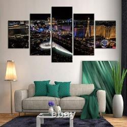 5 Panel Framed Las Vegas Strip Skyline Decor Canvas Picture Wall Art HD Print