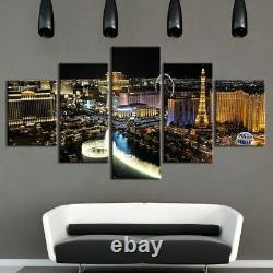 5 Panel Framed Night Las Vegas Scenery Modern Decor Canvas Wall Art HD Print
