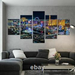 5 Panel Las Vegas Night Pictures Printed Modern Canvas Painting Wall Art Modular