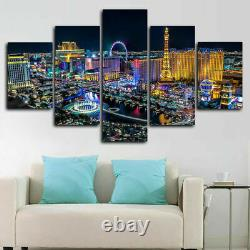 5 Piece Canvas Las Vegas City Night Lights Wall Art Print Picture Home Decor