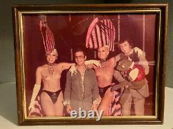 60's VINTAGE Las Vegas Casino Dancers With Tourist Framed Snapshot Photo EX