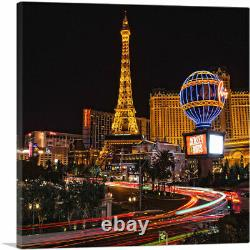 ARTCANVAS Las Vegas Eiffel Tower Restaurant at Night Canvas Art Print