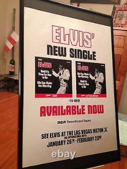 Big 11x17 Framed Elvis Presley Live In Concert At The Las Vegas Hilton 1972 Ad