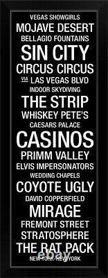 Bus Roll Las Vegas, Nevada Black Framed Wall Art Print, Las Vegas Home Decor