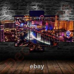 Cascading Las Vegas Gamble City Set 5 Pieces Framed Canvas Wall Decor FREE SHIPP