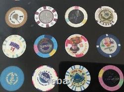 Casino Chip Gold Silver Dollar Framed $1 $2.50 $5 Las Vegas Harrahss Binion NV