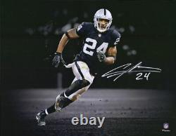 Charles Woodson Las Vegas Raiders Signed 11 x 14 Black Jersey Spotlight Photo