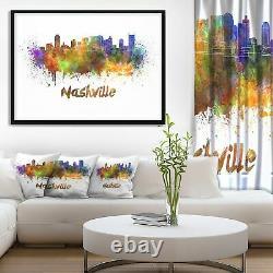 Designart'Las Vegas Skyline' Cityscape Framed Canvas Small