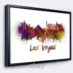 Designart'Las Vegas Skyline' Large Cityscape Framed Canvas Small