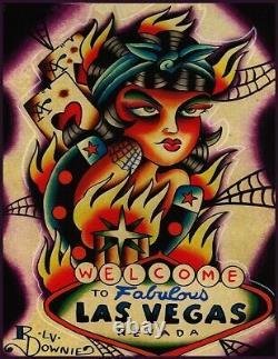 Easy Money Ryan Downie Las Vegas Poker Girl Tattoo Gambling Canvas Art Print
