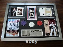 Elvis Presley Las Vegas Hilton Stunning Framed Concert Montage / Cards / Chips