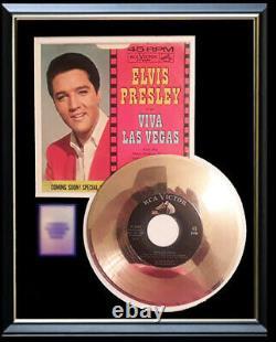 Elvis Presley Viva Las Vegas 45 RPM Gold Metalized Record Rare Non Riaa Framed