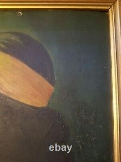 FANTASTIC FOLK ART O/on TIN PAINTING NAVAJO LAS VEGAS NM 1930s AGUSTIN MARTINEZ