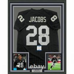 FRAMED Autographed/Signed JOSH JACOBS 33x42 Las Vegas Black Jersey Beckett COA