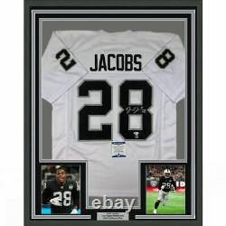 FRAMED Autographed/Signed JOSH JACOBS 33x42 Las Vegas White Jersey Beckett COA