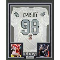 FRAMED Autographed/Signed MAXX CROSBY 33x42 Las Vegas Color Rush Jersey JSA COA