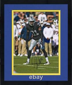Framed Isaiah Johnson Las Vegas Raiders Signed 16 x 20 Black Vertical Photo