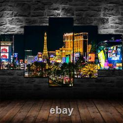 Framed Las Vegas City Casino Lights Poster 5 Pcs Canvas Print Wall Art Decor