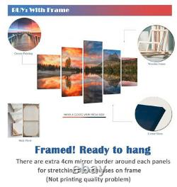 Framed Las Vegas City Night Lights Poster 5 Pcs Canvas Print Wall Art Decor