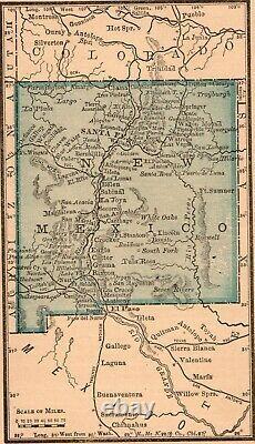 Framed Original 1889 Antique Map NEW MEXICO Albuquerque Las Vegas Lunas Socorro