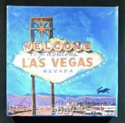 Framed. Steve Kaufman, Original Welcome to Las Vegas, Nevada. Hand signed SAK