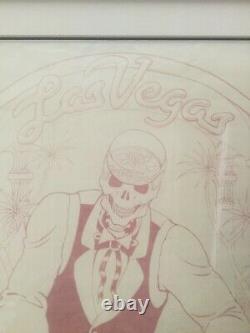 Grateful Dead Las Vegas 1992 t shirt production artwork signed, dated and framed