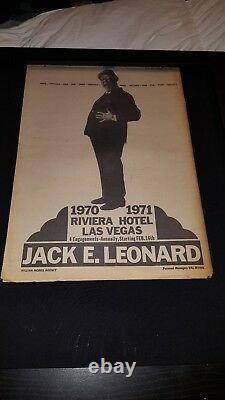 Jack E. Leonard Rare Original Riveria Hotel Las Vegas Promo Poster Ad Framed