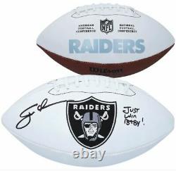 Jon Gruden Las Vegas Raiders Signed Wilson White Panel Football JUST WIN BABY