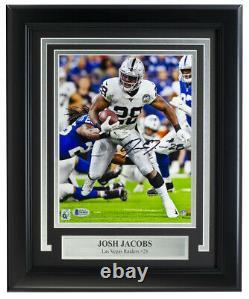 Josh Jacobs Signed Framed 8x10 Las Vegas Raiders Football Photo BAS ITP