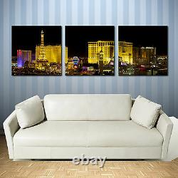 LAS VEGAS AT NIGHT ready to hang triptych framed canvas print/better stretched