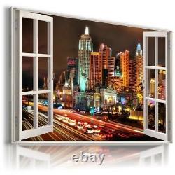 LAS VEGAS NEVADA CLARK 3D Window View Canvas Wall Art Picture W171 MATAGA
