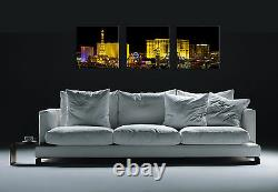 LAS VEGAS easy hang 3piece mounted MDF canvas wall art print/surpassed stretched
