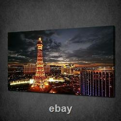 Las Vegas At Night Skyline Modern Canvas Wall Art Print Picture Ready To Hang