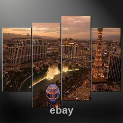 Las Vegas At Night Wall Art Cascade Canvas Print Picture Ready To Hang