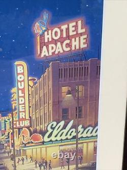 Las Vegas Bonanza Airlines Lithograph Matted Framed Kerne Erickson Vintage