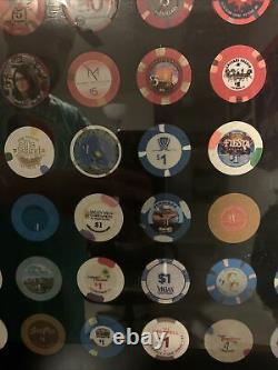 Las Vegas Casino Chip Framed 99 Chips $5 and $1 All Different