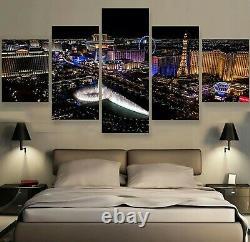 Las Vegas City Landscape 5pcs Painting Printed Canvas Wall Art Home Decorative