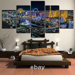 Las Vegas City Night Buildings Cityscape Canvas Print Painting Wall Art Decor 5P