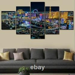 Las Vegas City Nightview Buildings 5 Panel Canvas Print Wall Art Home Decor
