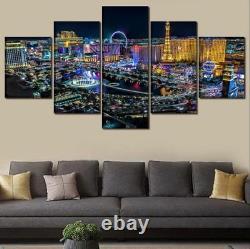 Las Vegas City Nightview Buildings Landscape Canvas Print Painting Wall Art 5PCS