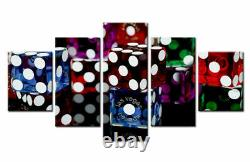 Las Vegas Colorful Dice Playing Card 5 Pcs Canvas Wall Picture Poster Home Decor