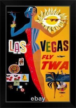 Las Vegas, Fly TWA Black Framed Wall Art Print, Las Vegas Home Decor