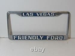 Las Vegas Friendly Ford License Plate Frame Embossed Tag Vintage FOMOCO Rare NV