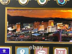 Las Vegas Hotel Casinos Authentic Playing Cards Poker Chips Collage Framed #D/10