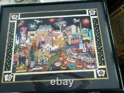 Las Vegas Lights Lithograph by Roxy, signed and framed. Circa 1999