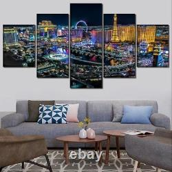 Las Vegas Modern City at Night Cityview 5 pieces Canvas Wall Poster Home Decor
