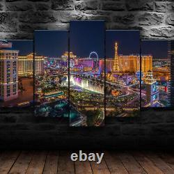 Las Vegas Nevada Night City 5 Piece Canvas Wall Art Abstract Print Home Decor